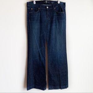 7FAM Dojo Jeans Dark Wash Wide Leg Blue Size 29